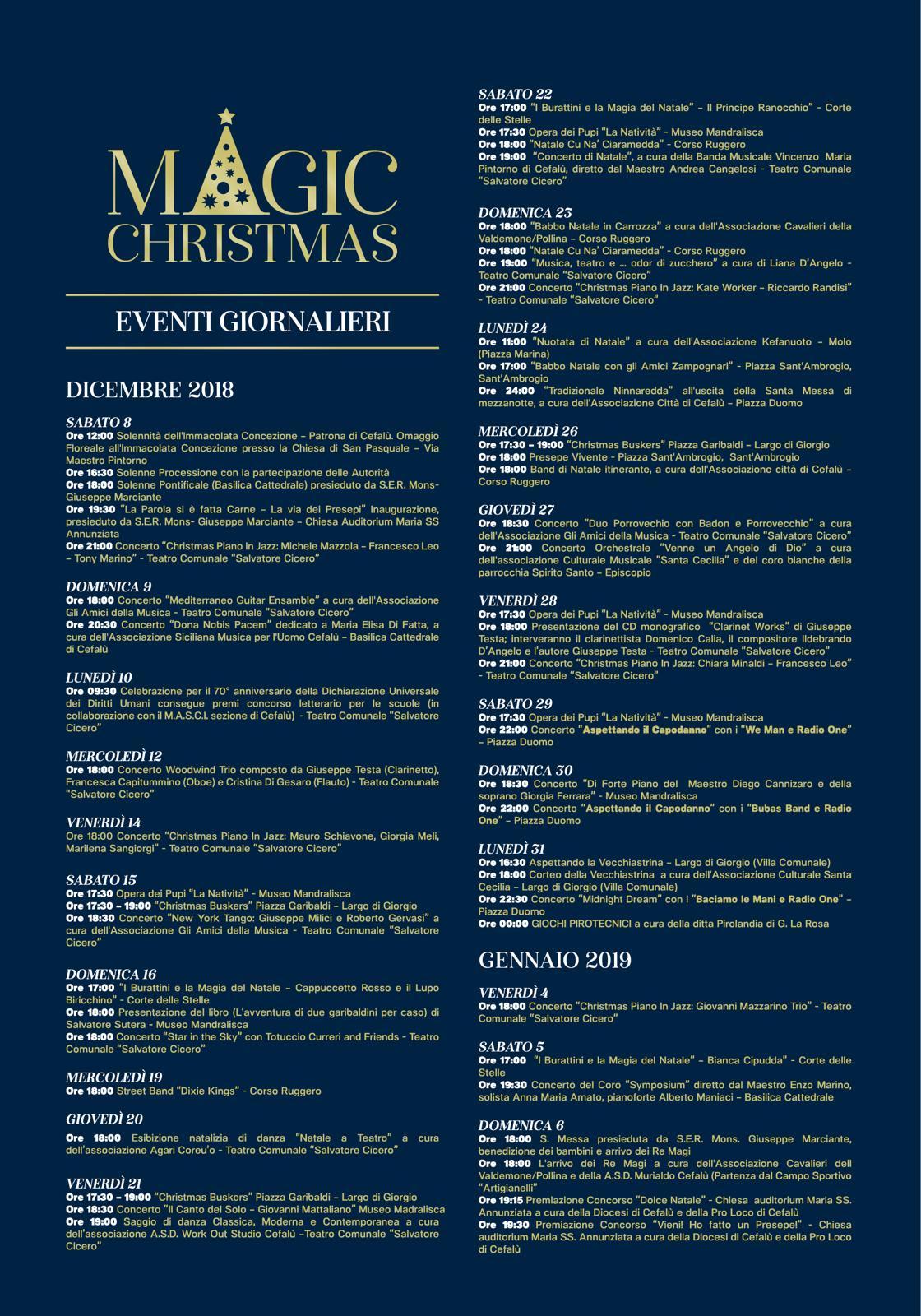 Volantino eventi Natale 2018 Cefalù