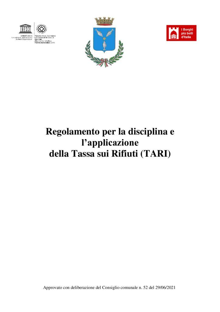 thumbnail of Regolamento TARI