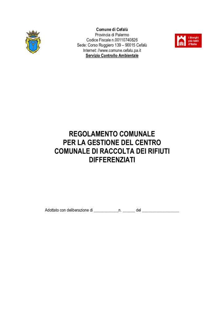 thumbnail of Regolamento per la gestione del centro comunale raccolta rifiuti differenziati