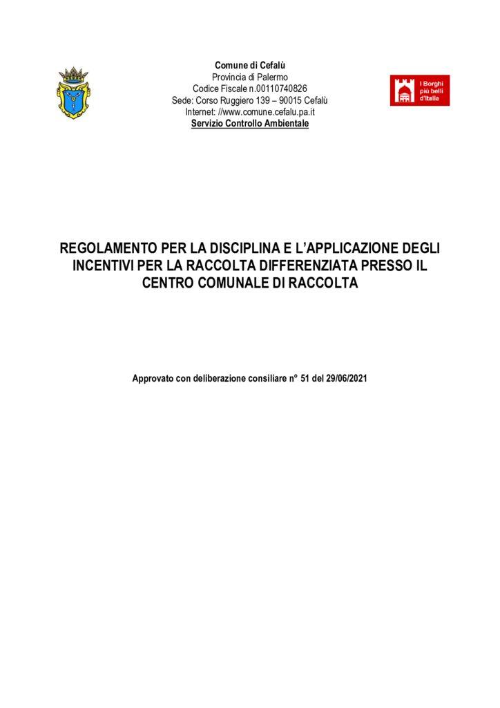 thumbnail of regolamento per la disciplina e l'applicazione incentivi per la raccolta differenziata